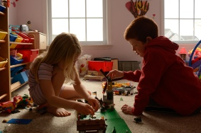 Kids playing legos together