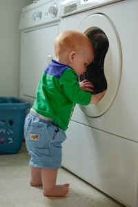 Infant looking in washing machine