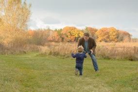 Little boy running to dad