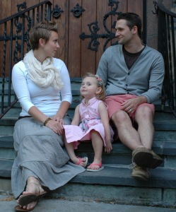 Family on church steps