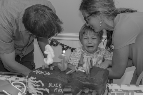 Three year old crying at birthday party