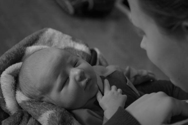 Black and white newborn picture near Scotia NY