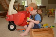 Toddler dressed as builder