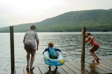 Kids on dock ready to jump