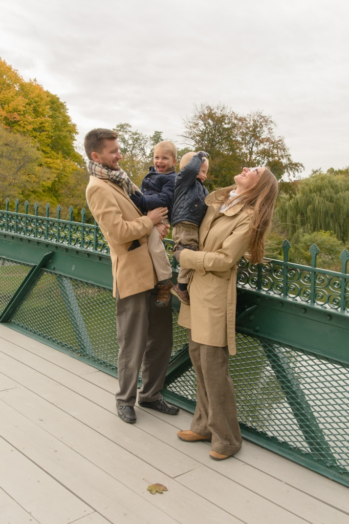 Family photography on bridge