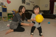 Mom and daughter with ball
