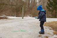 Boy painting ice green