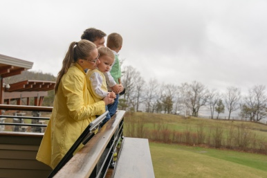 Family looking out over field