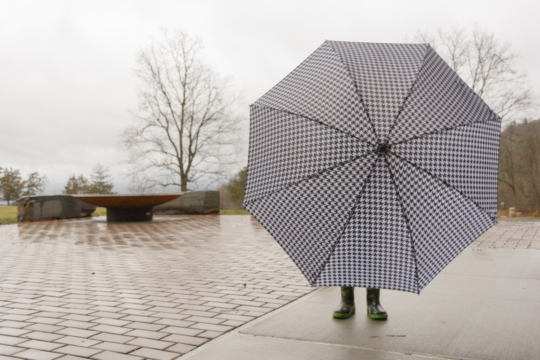 boy standing behind umbrella
