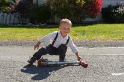 Preschooler with scooter